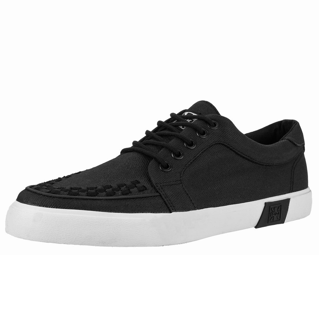 Black Waxed Twill No Ring VLK creeper style sneaker by Tred Air UK (Vegan)