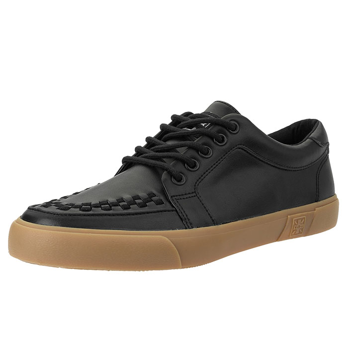 Black Leather No Ring VLK Gum Sole creeper style sneaker by Tred Air UK (Sale price!)