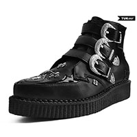 Black TUKskin (Vegan) Western 3 Buckle Creeper Boot by T.U.K.