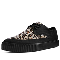 Black And Leopard Tie Pointed Lace Up creeper style sneaker by Tred Air UK (Vegan)