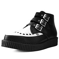 Black & White TUKskin (Vegan) 3 Buckle Creeper Boot by T.U.K.