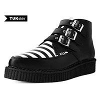 Black TUKskin (Vegan) Black & White Striped 3 Buckle Creeper Boot by T.U.K.