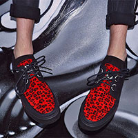 Black And Red Leopard VLK creeper style sneaker by Tred Air UK (Vegan)