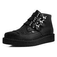 Black TUKskin (Vegan) 3 Skull Buckle Creeper Boot by T.U.K.