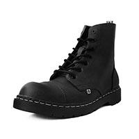 Black Waxy 7 Capped Toe Boot by TredAir UK (Vegan)