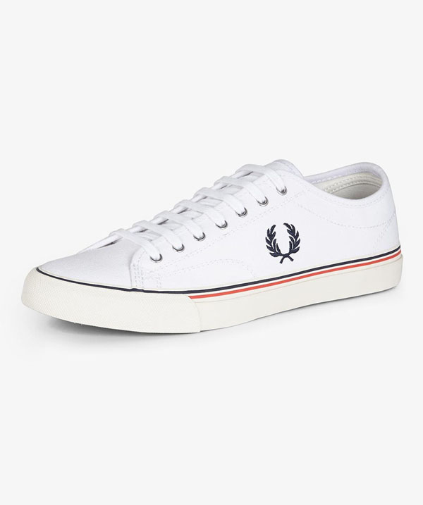 kendrick canvas sneaker by fred perry white sale price fred perry shoes. Black Bedroom Furniture Sets. Home Design Ideas