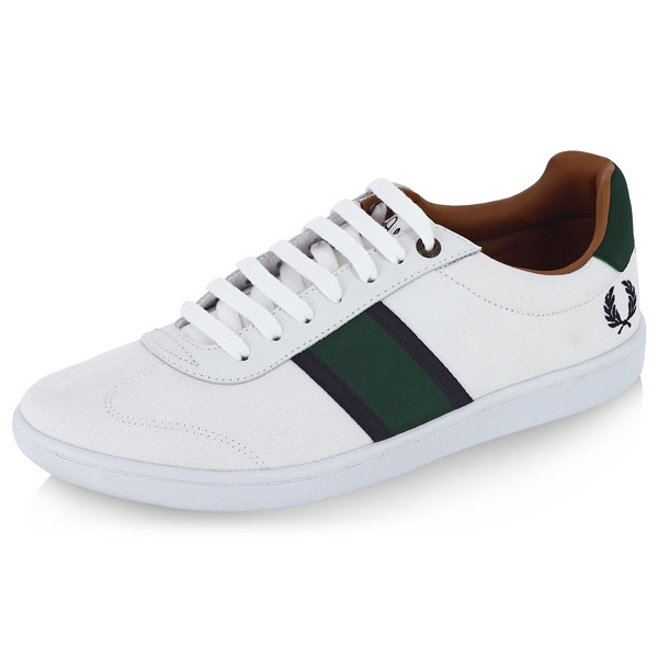 sebright canvas sneaker by fred perry white sale price. Black Bedroom Furniture Sets. Home Design Ideas