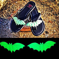 Super Limited Edition - Betty Glow in the Dark Green Bat Flip flop Sandal by Strange Cvlt