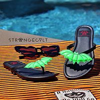 Betty Green Bat Flip flop Sandal by Strange Cvlt