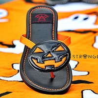 Betty Jack O Lantern - Orange Straps/ Black Pumpkin Flip flop Sandal by Strange Cvlt