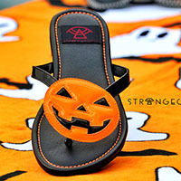 Betty Jack O Lantern - Black Straps/ Orange Pumpkin Flip flop Sandal by Strange Cvlt
