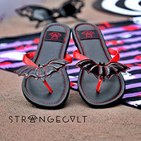 Betty Red/Black Bat Flip flop Sandal by Strange Cvlt
