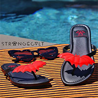 Betty Red Bat Flip flop Sandal by Strange Cvlt