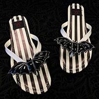 Betty Bat- Black & White Stripe Flip flop Sandal by Strange Cvlt