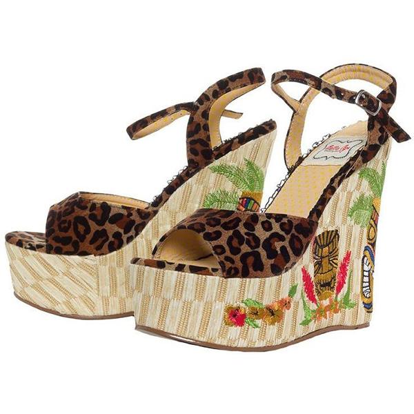Keke Open Toe Tiki Wedge by Bettie Page Shoes by Ellie - in Leopard - SALE sz 7 & 10 only