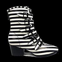 Coven Stripe Boot by Strange Cvlt - in Black & White