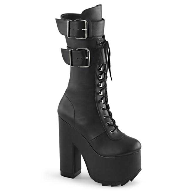 Cramps Buckle Lace Up Boot by Demonia Footwear - in Black