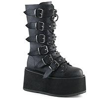 Damned 225 Mid Calf Buckle Platform Boot by Demonia Footwear (Vegan)