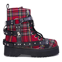 Disorder Bondage Boot by Strange Cvlt - in Red Plaid