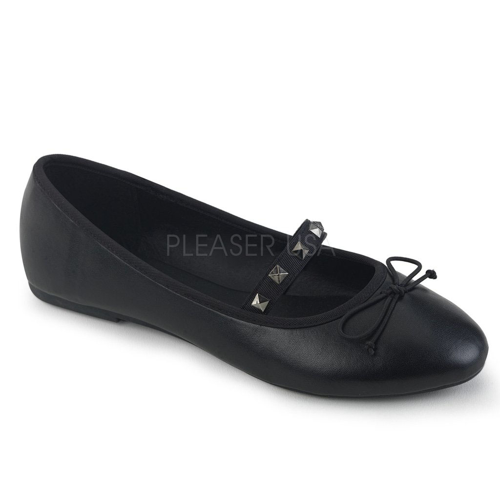 Black Matte Ballet Flat with Pyramid Studded Strap by Demonia Footwear - in Black