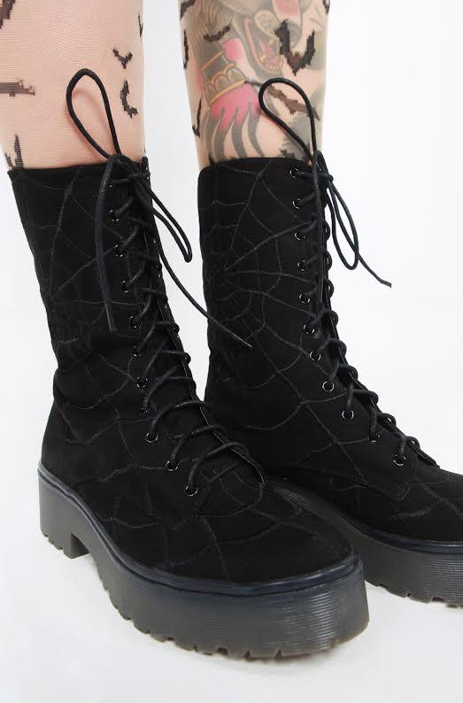 Walking In My Web Heavy Sole Boot by Iron Fist  - Black Velvet - SALE