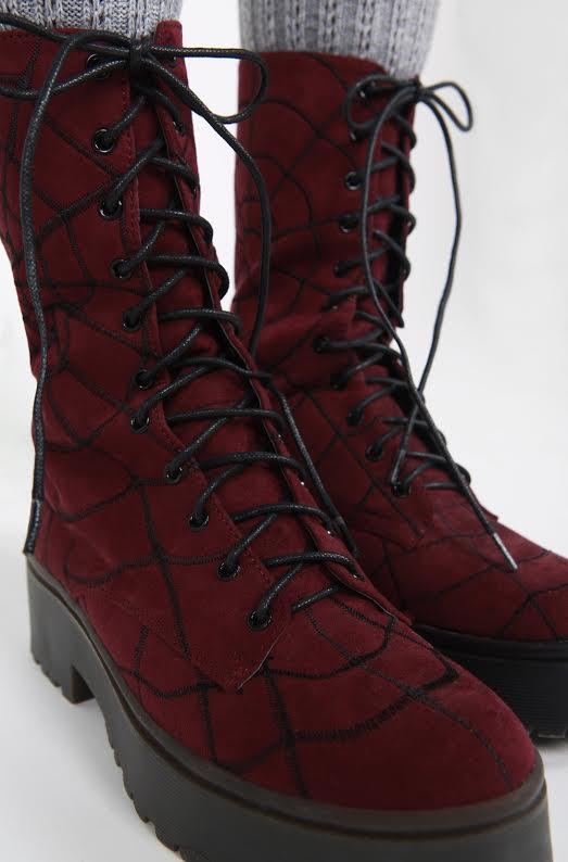 Walking In My Web Heavy Sole Boot by Iron Fist  - Burgundy Velvet - SALE sz 5 only