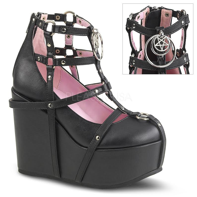 Pentagram Caged Wedge Ankle Bootie by Demonia Footwear - in black