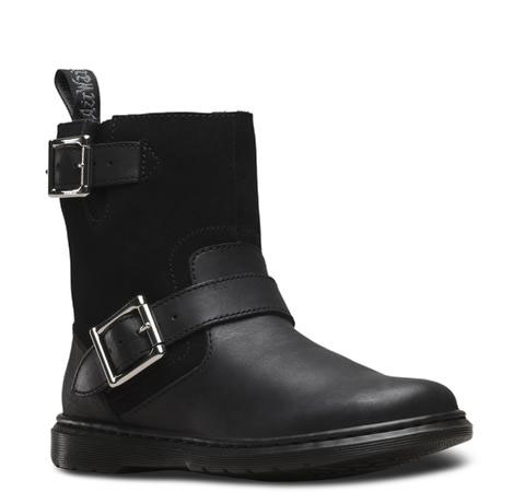 Gayle Fur Lined Biker Boot in Black Oily Illusion And Suede by Dr Martens (Womens) (Sale price!)