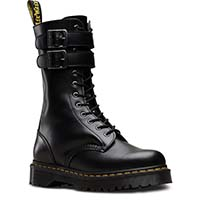 Caspian ALT (12 Eye Black Smooth Boot With Buckles And Zipper) by Dr. Martens