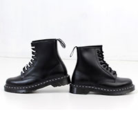 8 Eye Black Smooth Boot With White Stitching by Dr. Martens