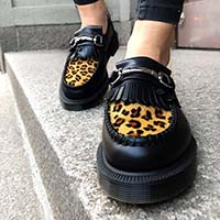Adrian Black Smooth & Leopard Loafer by Dr. Martens