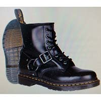 8 Eye Black Polished Smooth Bradfield Harness Boot by Dr. Martens