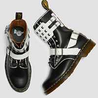 10 Eye Black & White Joska Stud Dr. Martens Boot