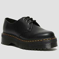 3 Eye Quad Sole Black Smooth Shoe by Dr. Martens