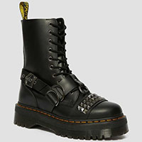 Jadon Studded 10 Eye Thick Sole Side Zip Dr. Martens Boots- Black Smooth