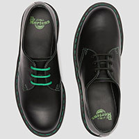 3 Eye Black Smooth Gibson With Green Stitching by Dr. Martens