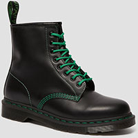 8 Eye Black Smooth Boot With Green Stitching by Dr. Martens