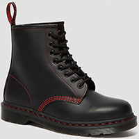 8 Eye Black Smooth Boot With Red Stitching by Dr. Martens