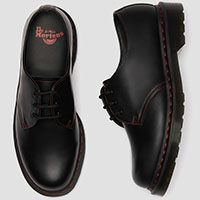 3 Eye Black Smooth Gibson With Red Stitching by Dr. Martens