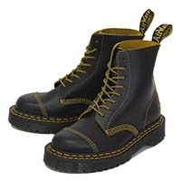 8 Eye Black BEX Sole Boot With Yellow Stitching by Dr. Martens