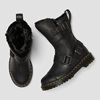 Kristy Mid Calf Faux Fur Black Leather Boots by Dr. Martens