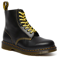 8 Eye Pascal Atlas Boot in Dark Grey With Yellow Stitching by Dr. Martens
