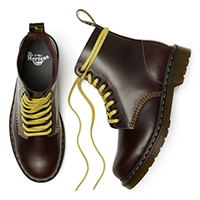 8 Eye Pascal Atlas Boot in Oxblood With Yellow Stitching by Dr. Martens