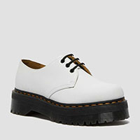3 Eye Quad Sole Shoe in White Smooth by Dr. Martens