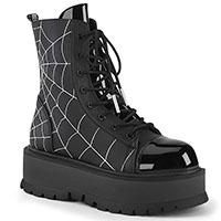 Slacker 88 Spider Web Platform Boot by Demonia Footwear (Vegan)