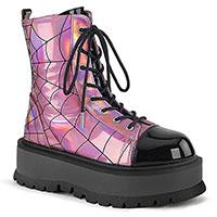 Slacker 88 Spider Web Platform Boot by Demonia Footwear (Vegan) - Hologram Pink