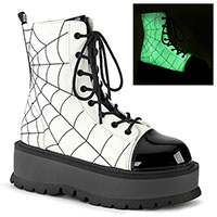 Slacker 88 Spider Web Platform Boot by Demonia Footwear (Vegan) - Glow in the Dark White