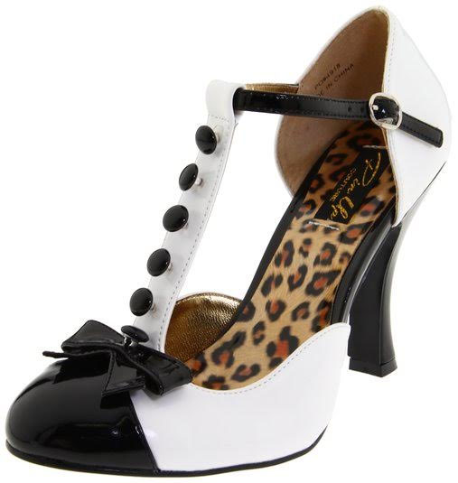 T-Strap D'orsay Pump with Mini Bow Accent by Pin Up Couture / Demonia - in black & white
