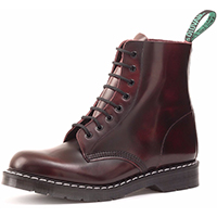 Derby 8 Eye Boot in BURGUNDY RUB OFF by Solovair (Made In England!)