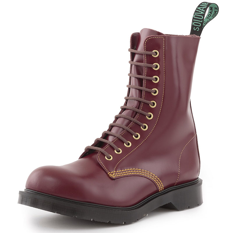 Southerner 11 Eye Steel Toe Boot in Cherry by Solovair (Made In England!)